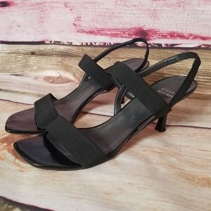 Stuart Weitzman Black Kitten Heel Sandals